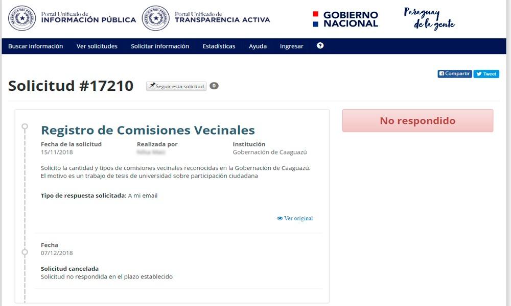 Gobierno de Alejo Ríos niega entrega de información pública